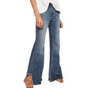 Free People Blue Distressed Flared Jeans